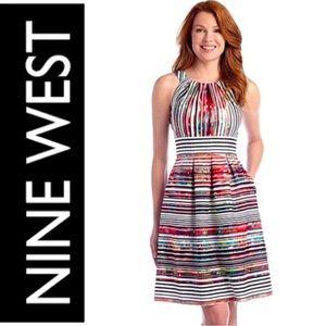 Nine West Striped Pleated Cotton Dress